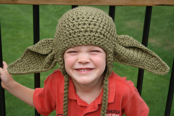 Шляпа «Звездные войны», вязаная крючком шапка уши Йоды, шапка уши Йоды «Звездные войны», детские шапки «Звездные войны», костюм для Хэллоуин...