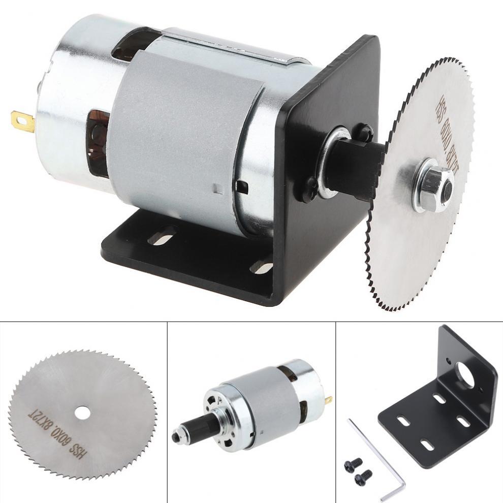 24В 20000 ОБ/мин 775 мотор Настольный пилы комплект с шаровым подшипником Монтажный кронштейн и 60 мм пильный диск для резки/полировки/гравировки