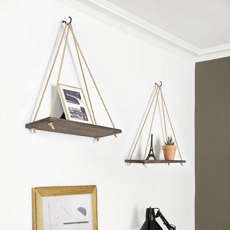 Estante colgante de madera para plantas, pequeño estante de almacenamiento para el hogar, cuerda de pared, estante colgante para dormitorio, sala de estar, decoración de oficina