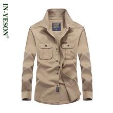 Safari Style Spring Autumn Mens Shirt Long Sleeve Brand IN-YESON camisa masculina Cotton Loose Military Shirt Men Plus Size 4XL