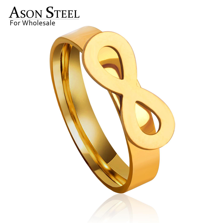 Anillo ASONSTEEL de Color dorado/plateado para mujer y hombre, joyería antialergénica Anillos de compromiso de acero inoxidable infinito