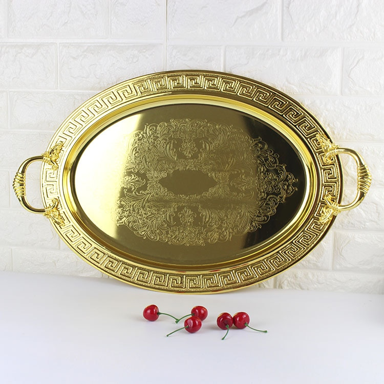الفولاذ المقاوم للصدأ الأوروبي الرجعية الذهبي صينية الراقية فندق بوفيه صينية للفاكهة نموذج غرفة الحلي