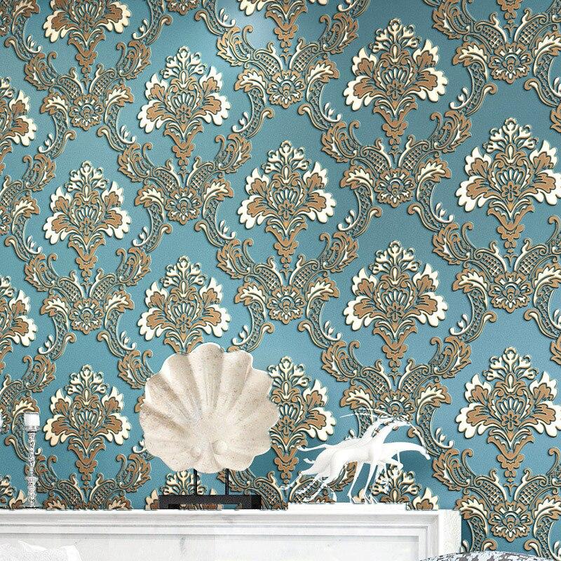 Alívio Dimensional de não-tecido papel de parede simples Europeu-estilo Damasco quarto estudo sala de estar quarto cheio de papel de parede