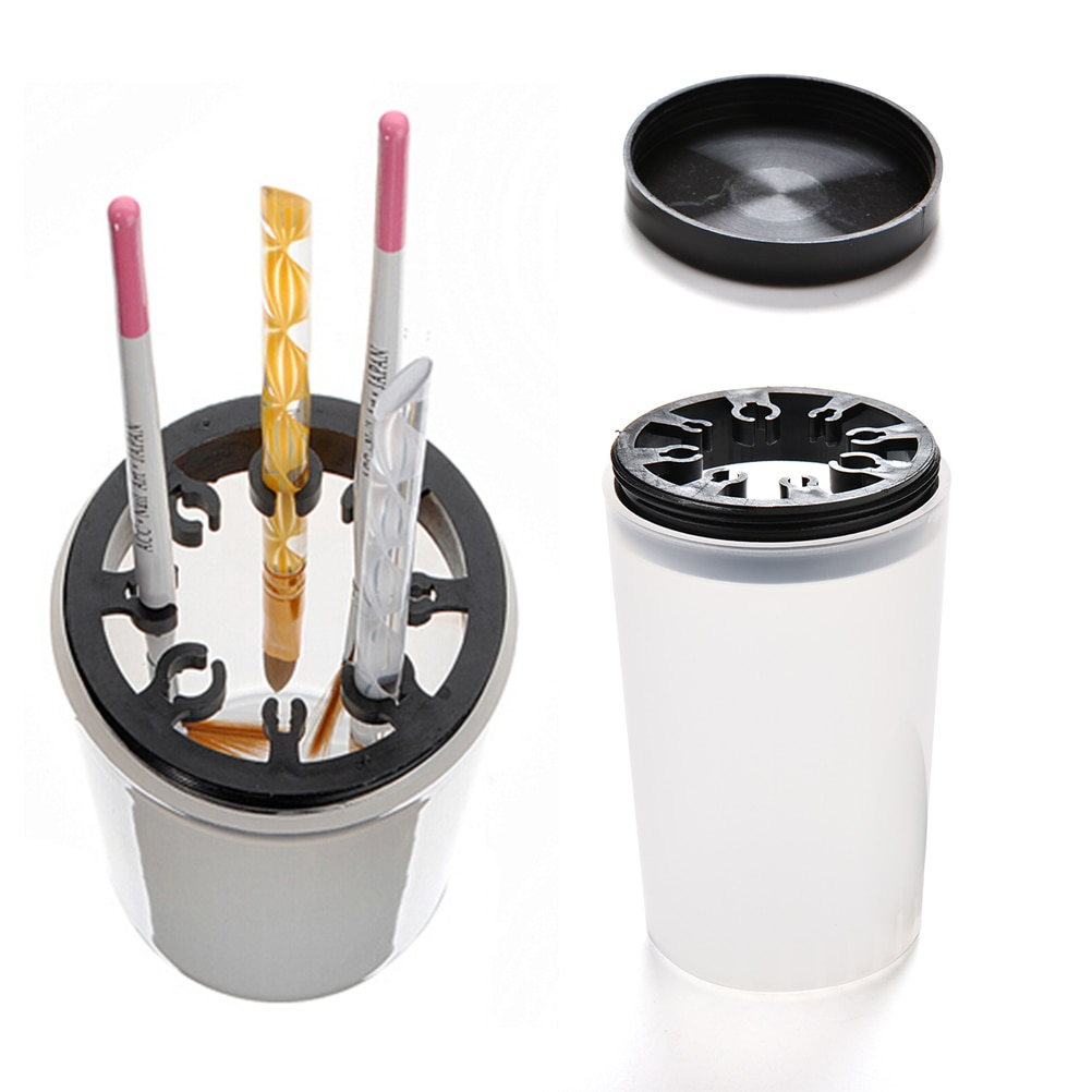 Limpiador del pote de la pluma del Gel de acrílico UV equipo de la botella herramientas Nail Art cepillo para manicura Cleaner Plastic funda, soporte