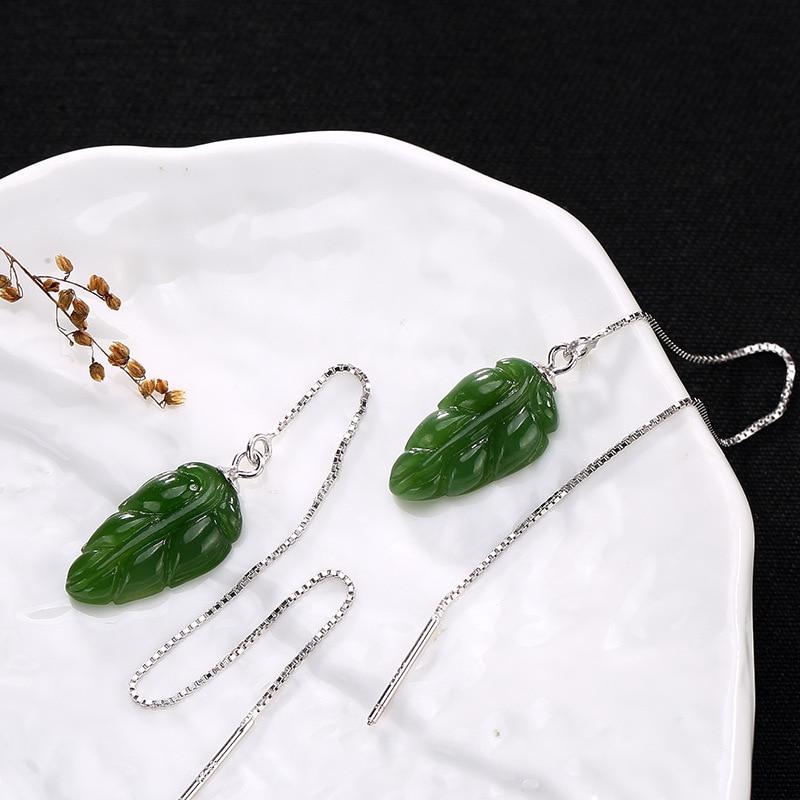 Silber S925 Sterling Silber Antiken Mosaik Tian Blatt Ohr Linie dame High-end-Multi Touch Ohrringe Großhandel