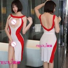 Sexy Women Hollow Out Open Bust Milk Ice Silk Smooth High Cut Dress Transparent Dress Backless See Through Club Dance Wear F26