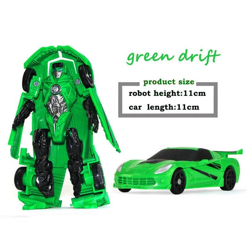 Robot de juguete para niños de 10CM, juguetes de transformación de plástico, regalo educativo para niños, coches clásicos, verde, rojo y blanco