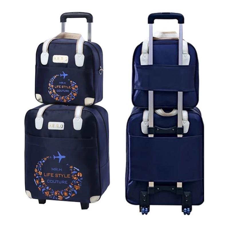 Maleta rodante, bolsa de viaje, Maleta equipaje con ruedas con bolso, ir de compras para chicas vs mujeres, juego de maletas Trolley
