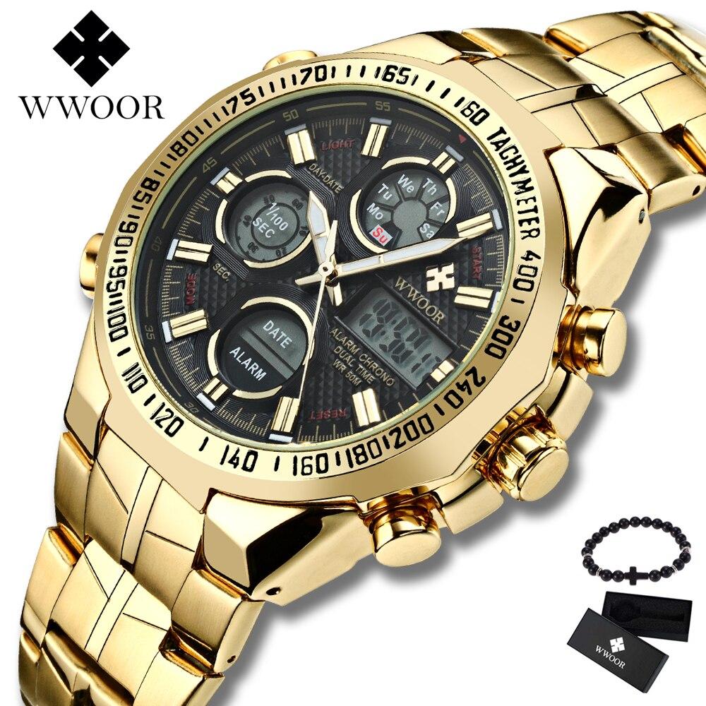 Marca de Luxo Relógios de Aço de Ouro Masculino à Prova Caixa de Presente Alta Wwoor Relógio Masculino Led Grande Dial Dwaterproof Água Livre 2021