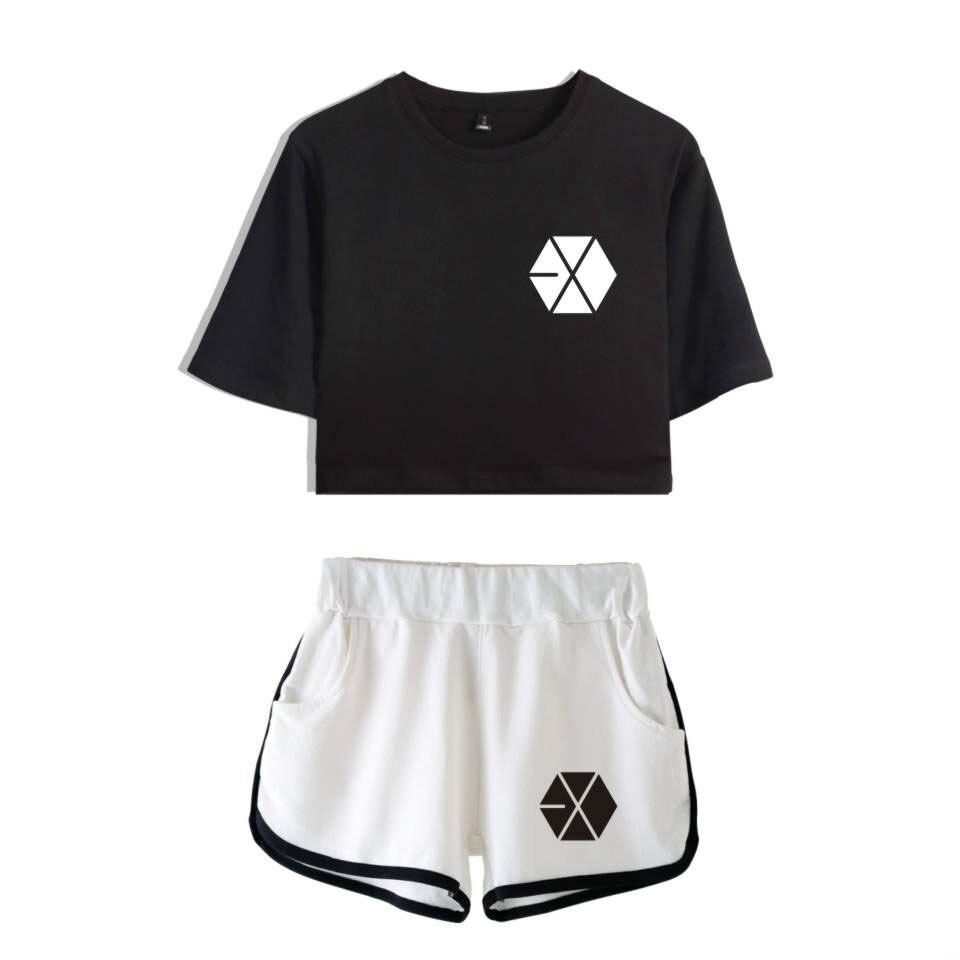 EXO, conjuntos de dos piezas geniales de verano, camiseta y pantalones cortos EXO de estilo informal con estampado para mujer, conjunto de chándal Sexy para mujer de talla grande 2XL