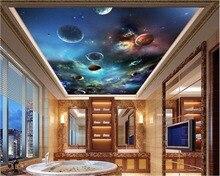 Custom photo 3d ceiling murals wallpaper Cosmic starry solar system planet painting 3d wall murals wallpaper for walls 3d
