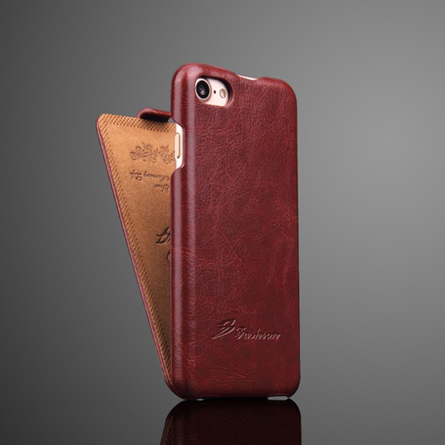 Genuíno couro vertical flip capa para apple iphone 6 s 7 8 x xs max xr se2 fundas de luxo com dom gratuito protetor de tela