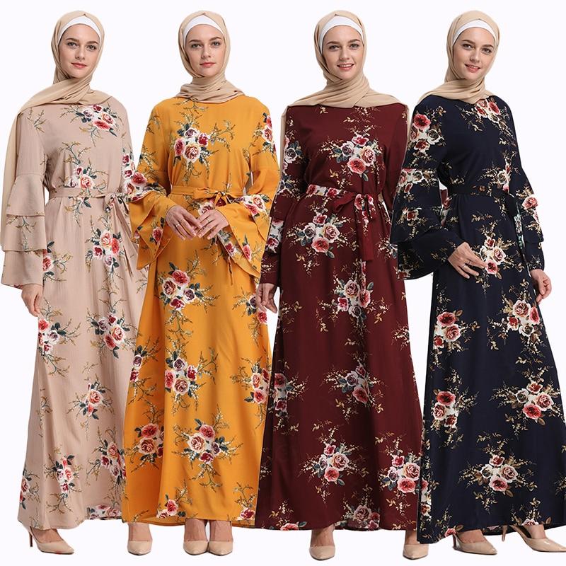 Hijab bufanda Floral vestido Hijab marroquí Abaya Femme turco Abaya Dubai Flare manga islámica ropa Djellaba túnica árabe