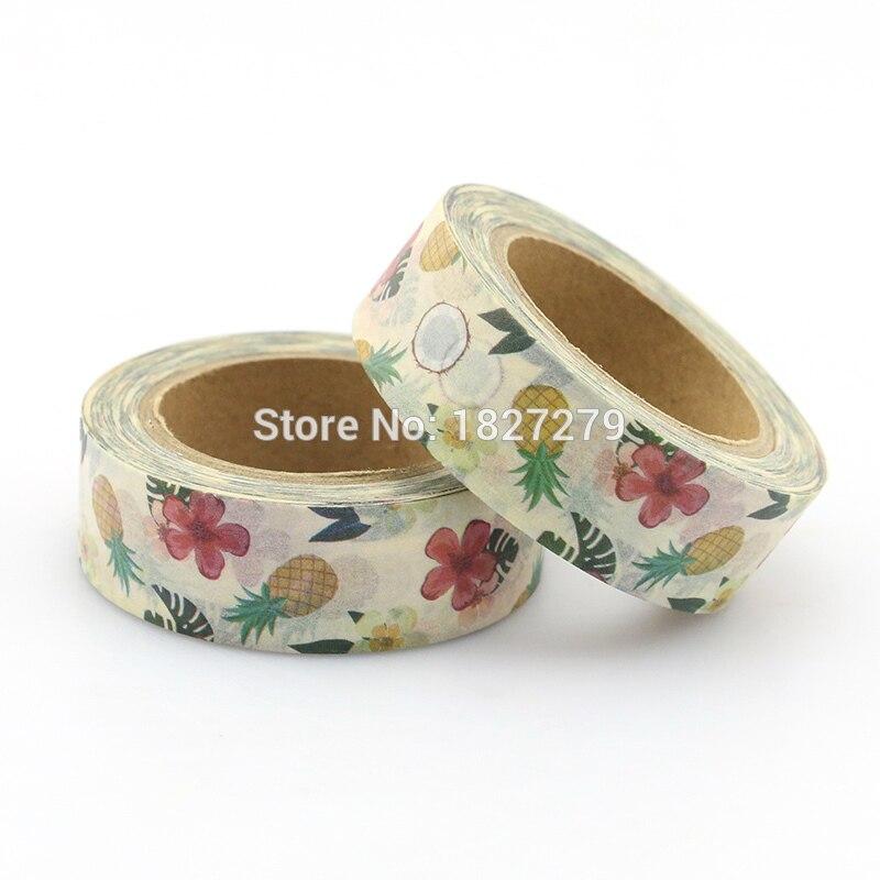 1 rollo rojo floral y pinapple Washi Tapes cinta adhesiva pegatinas decorativas para diario Deco Tape 10m