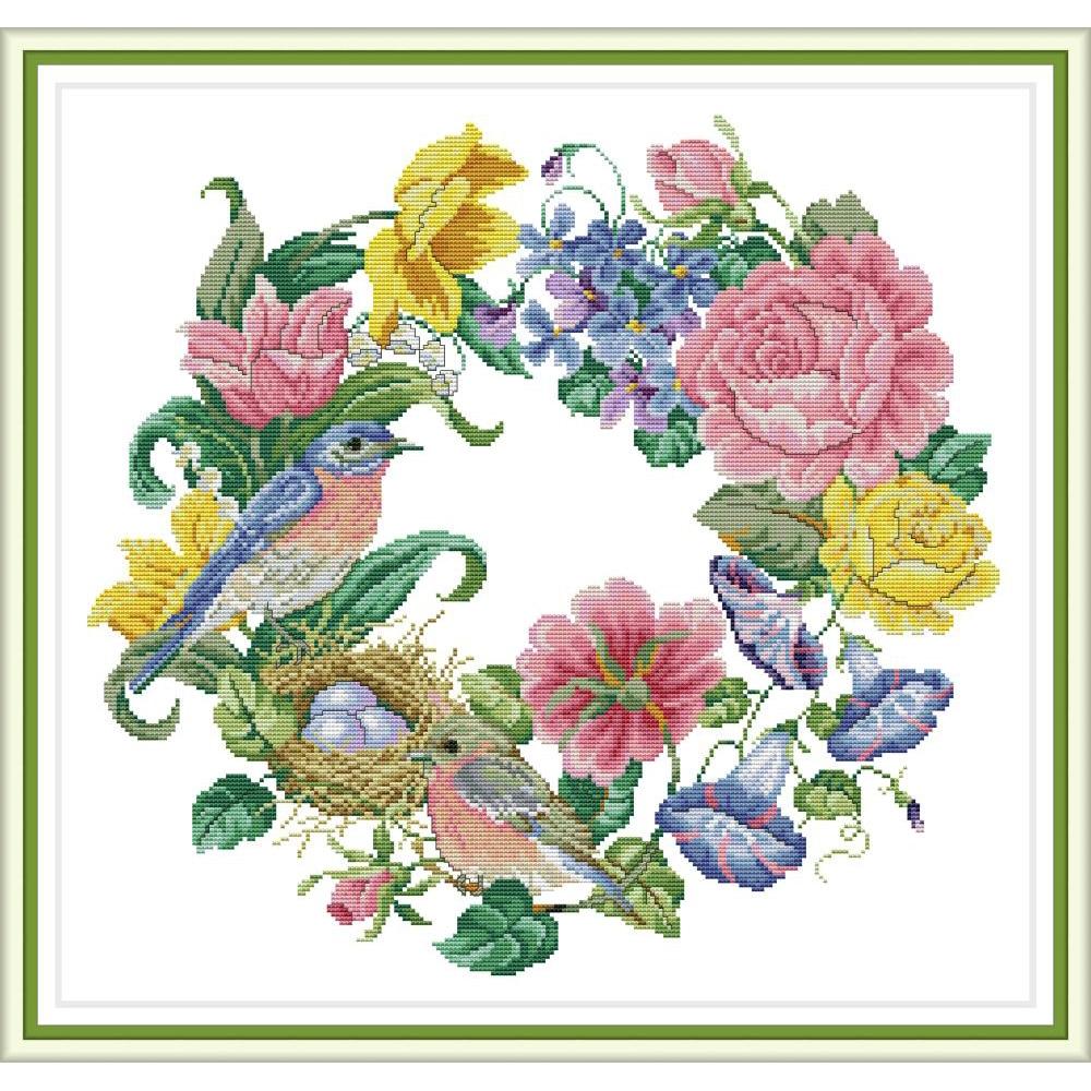 NKF Bird Wreath Counted Cross Stitch 11CT 14CT Cross Stitch Set Flower Embroidery Needlework Kit Home Decor