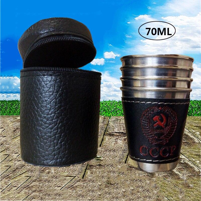 4 шт./лот 70 мл походные чашки из нержавеющей стали переносная дорожная чашка вино пиво кофе виски кружка искусственная кожа посуда для пикни...