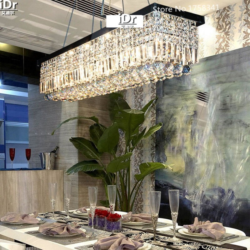Modern Crystal Chandelier for dining room Rectangle Crystal Pendant Chandelier Luxury lamp L1500xW200xH1000mm  - buy with discount
