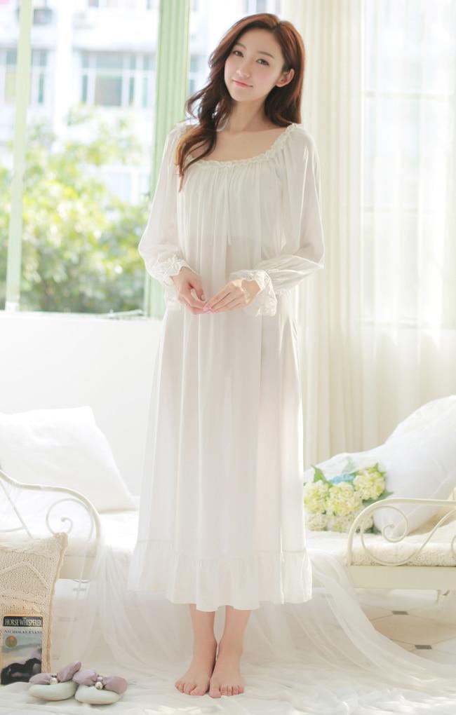 Free Shipping Princess Nightdress Long White and Pink  Pijamas Womens Nightgown Thin Material Sleepwear Ladies negligee