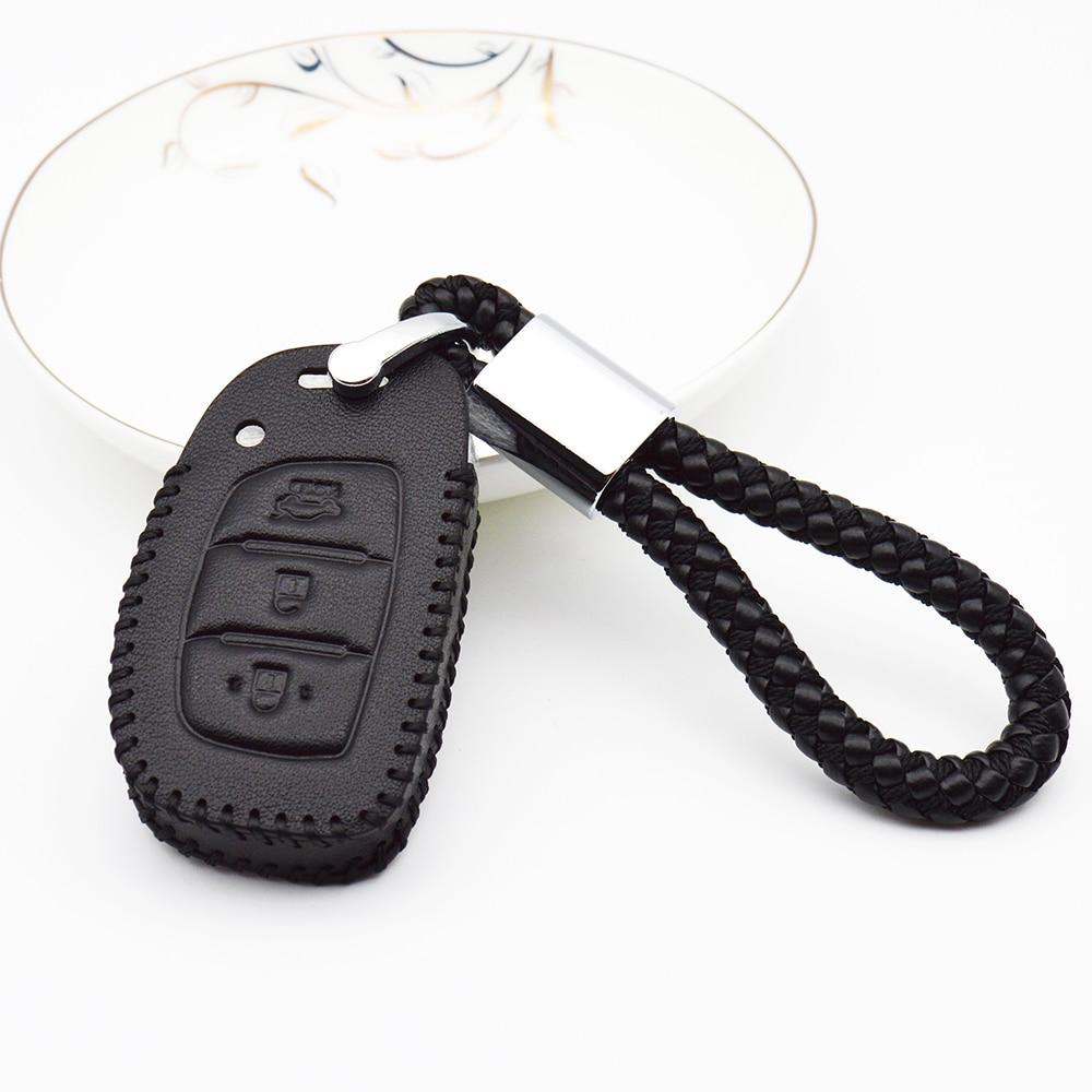 Funda de cuero genuino para llave de coche para Hyundai 2017 2018 Solaris I20 I30 I10 IX25 IX35 Santa fe Creta Elantra, carcasa para llavero