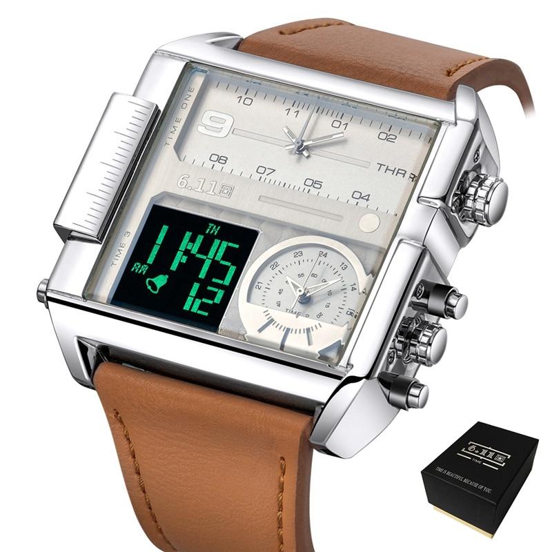 Relojes cuadrados de 6,11 para hombre, relojes deportivos de cuarzo LED resistentes al agua con dos zonas horarias, relojes de lujo para hombre de gran tamaño