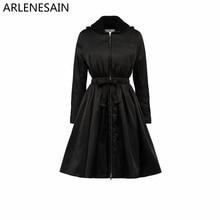 Abrigo de mujer de tela técnica de lana a la moda negro personalizado Arlenesain