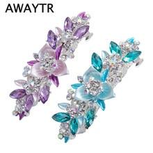AWAYTR 1pc Trendy Barrette Crystal Flower Hairpin Tiara Rhinestone Hair Clip For Woman Wedding/Party Hair Accessories Gift