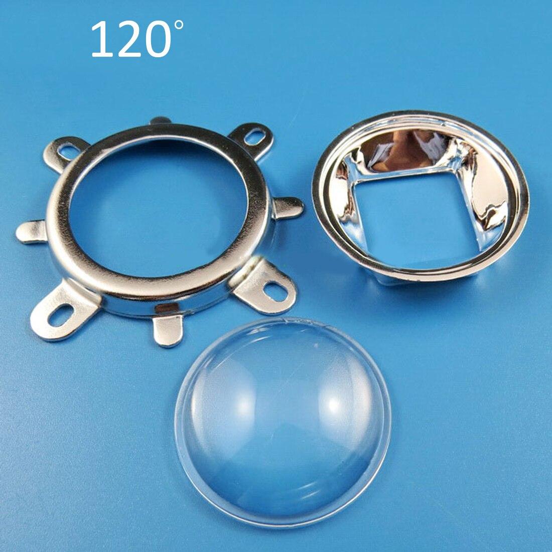 1Set 44mm óptico lente de cristal para LED 60 grados + 50mm colimador Reflector + soporte fijo para 20W 30W 50W 100W mazorca de alta potencia Chip