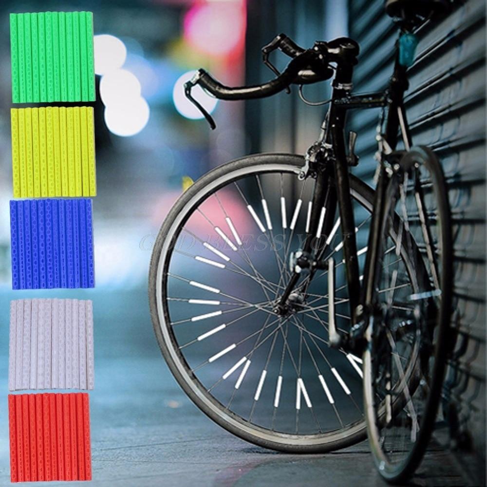 12 unids/set Reflector llanta de rueda para bicicleta Radio para bicicleta montaje advertencia tira de luz tubo Drop Shipping