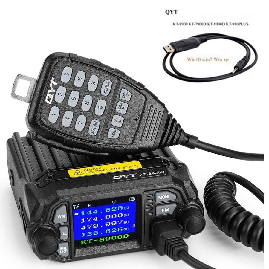 Qyt KT-8900D kt8900d 2nd gen 25w 136-174mhz 400-480mhz mini rádio móvel de banda dupla, rádio em dois sentidos, quad display walkie talkie