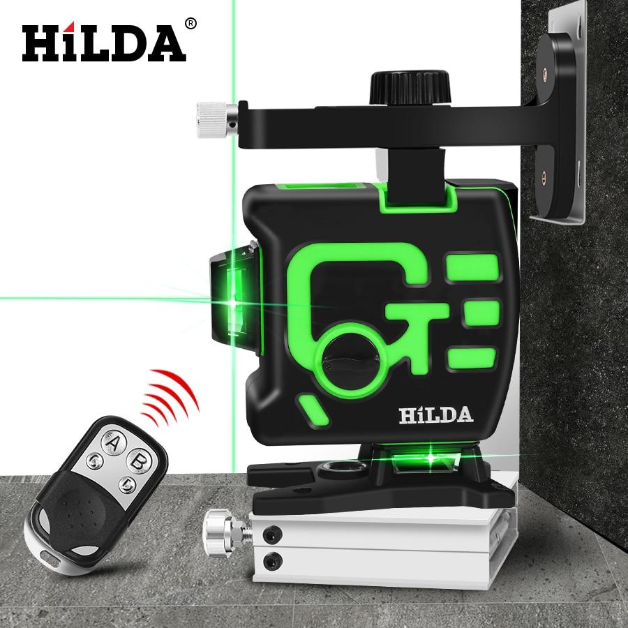 هيلدا 3D الليزر مستوى الذاتي الإستواء 360 الأفقي والرأسي الصليب الأخضر 12 خطوط 3D الروتاري مستوى الليزر الأفقي العمودي