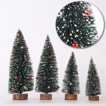 Top Kwaliteit 1pcs Kleine DIY Kerstboom Nep Pijnboom Mini Sisal Fles Borstel Kerstboom Kerstman Sneeuw Vorst dorpshuis