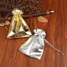 En gros 500 pcs/lot or argent Satin sacs 9x12 cm mignon montre bijoux emballage sacs faveurs de mariage cordon bonbons cadeau sac