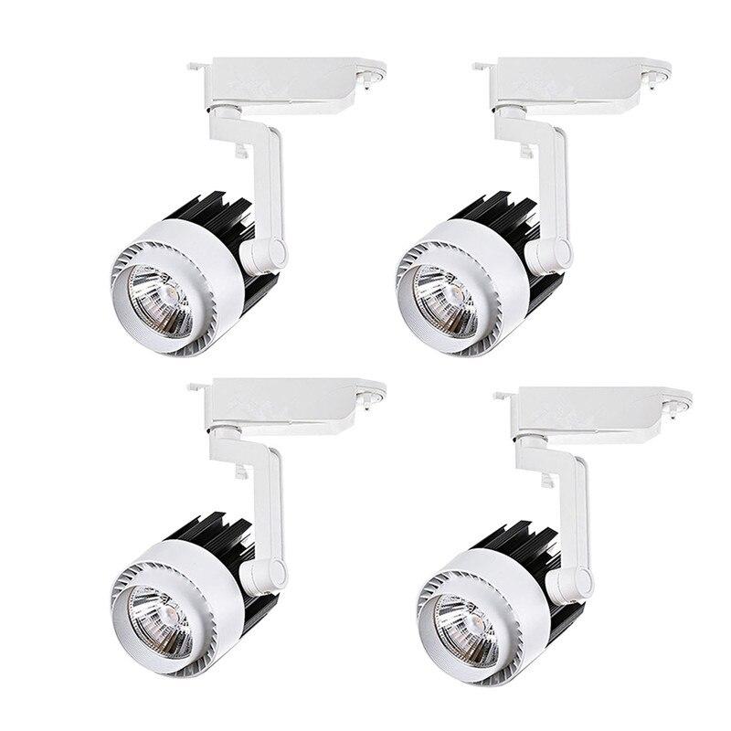4 unids/lote 20W 30W COB LED Luz de pista de aluminio riel de techo luces de punto para tienda de ropa zapatos tienda iluminación del carril de la pista