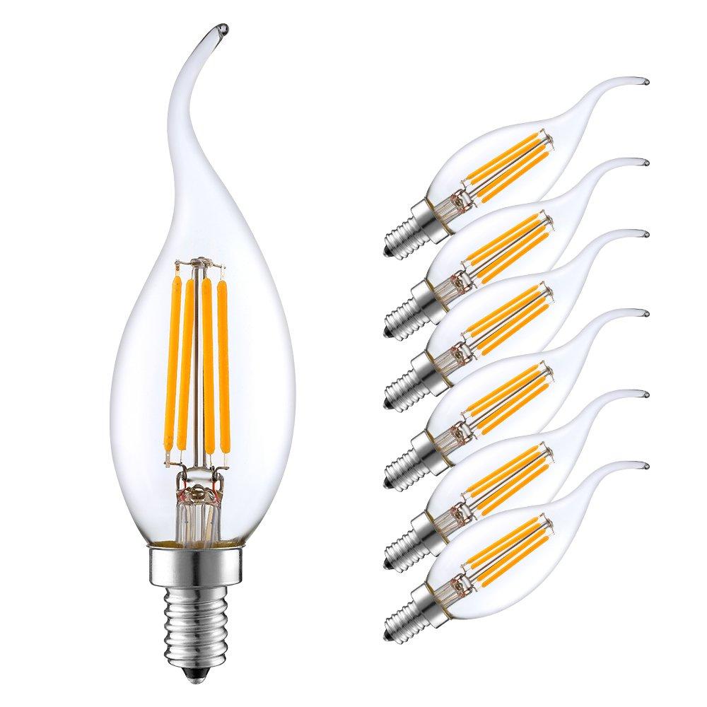 E14 светодиодный лампы в форме свечи лампы теплый/холодный белый 2W/4W/6W C35 электрическая лампочка эдисона Ретро лампа накаливания люстра свети...