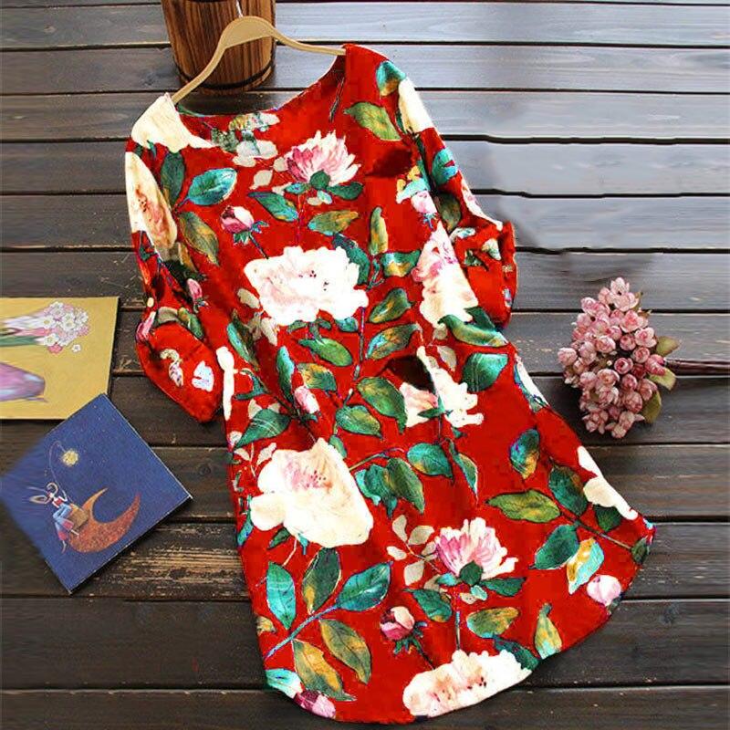 Verão vestido feminino floral impresso senhora solta vestidos casuais tamanhos grandes S-4XL nyz shop