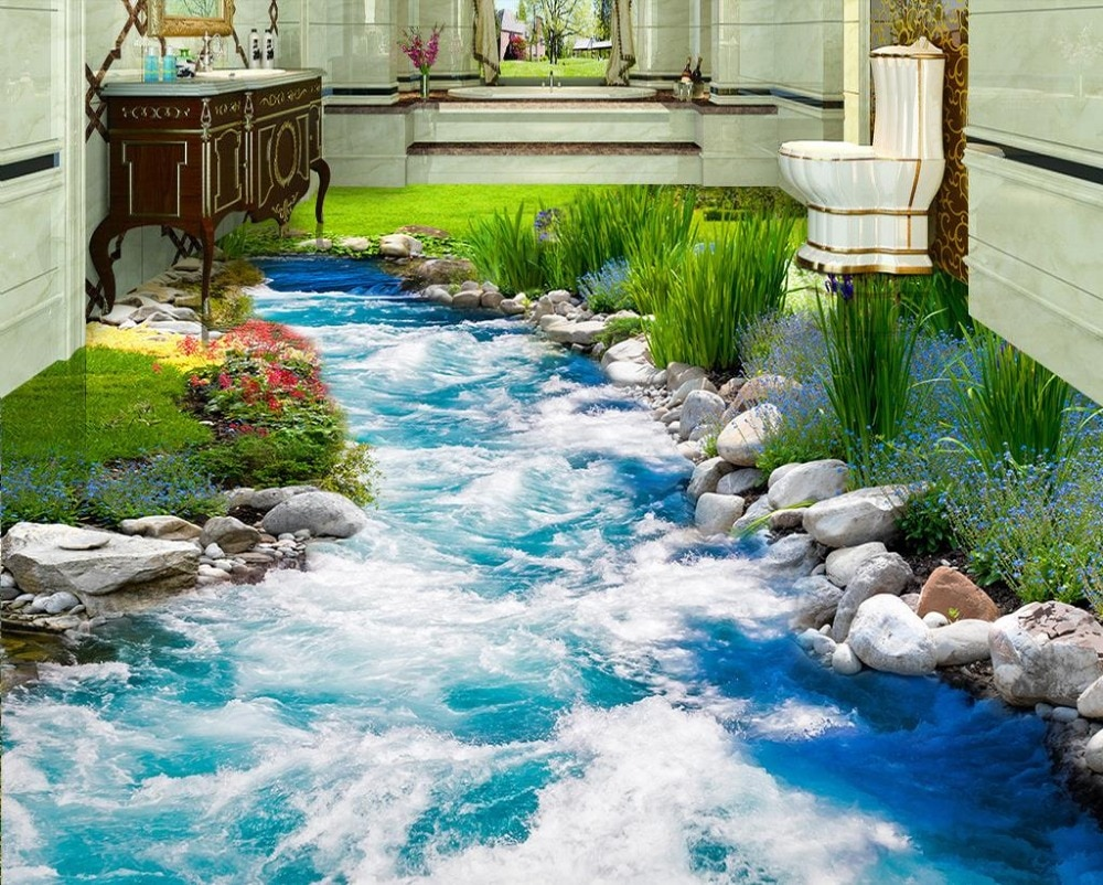2020 piso de vinil papel parede impermeável água running wallpapers para sala estar pvc piso papel parede para paredes 3 d
