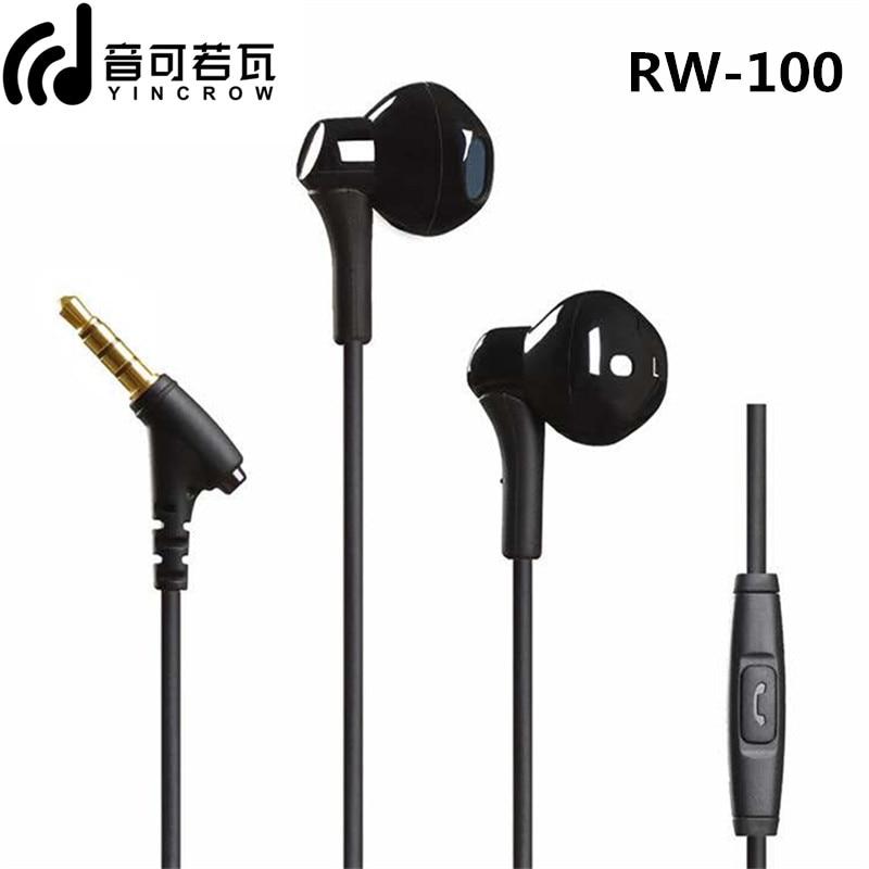 YINCROW RW-100 HiFi Super Bass Earphone With Mic Half in-ear headset Wired 3.5MM Earphones RW919 RW777 X6 P1 DT6 PT15 PT25 MS16