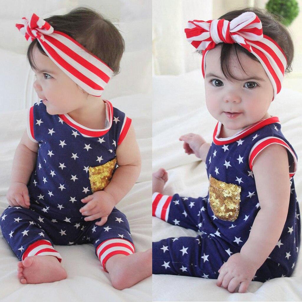 Bebé niño y niña mameluco 4th de Julio de estrellas rayas patriótico mono ropa de bebé ropa niños 0-3 meses poco chicas mamelucos