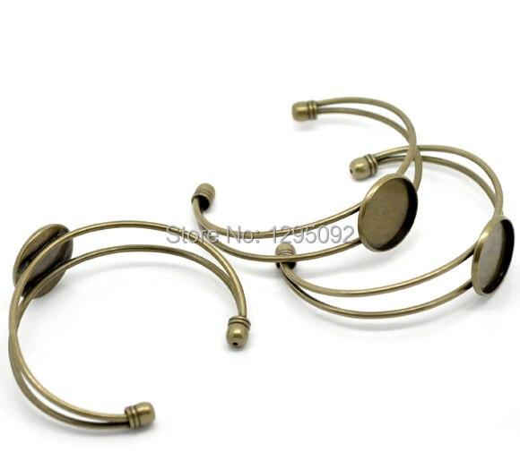 100 Pcs Por Atacado Disco Ajuste Cabochon Rodada Pulseiras Pulseiras Descobertas Jóias Tone Bronze 16.5 cm (Fit 20mm)