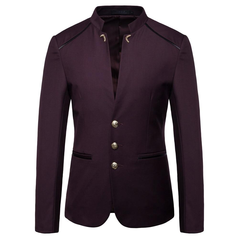 HO  2021 spring new men's fashion trend stand collar suit button decoration blazer