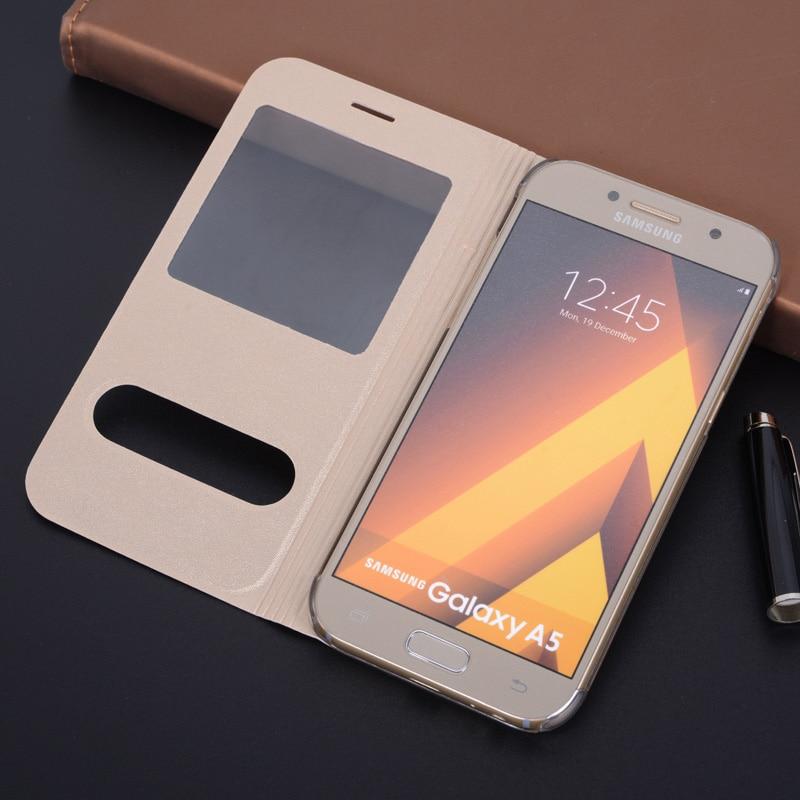 Cubierta caja de teléfono de cuero para Samsung Galaxy A3 A5 2017...