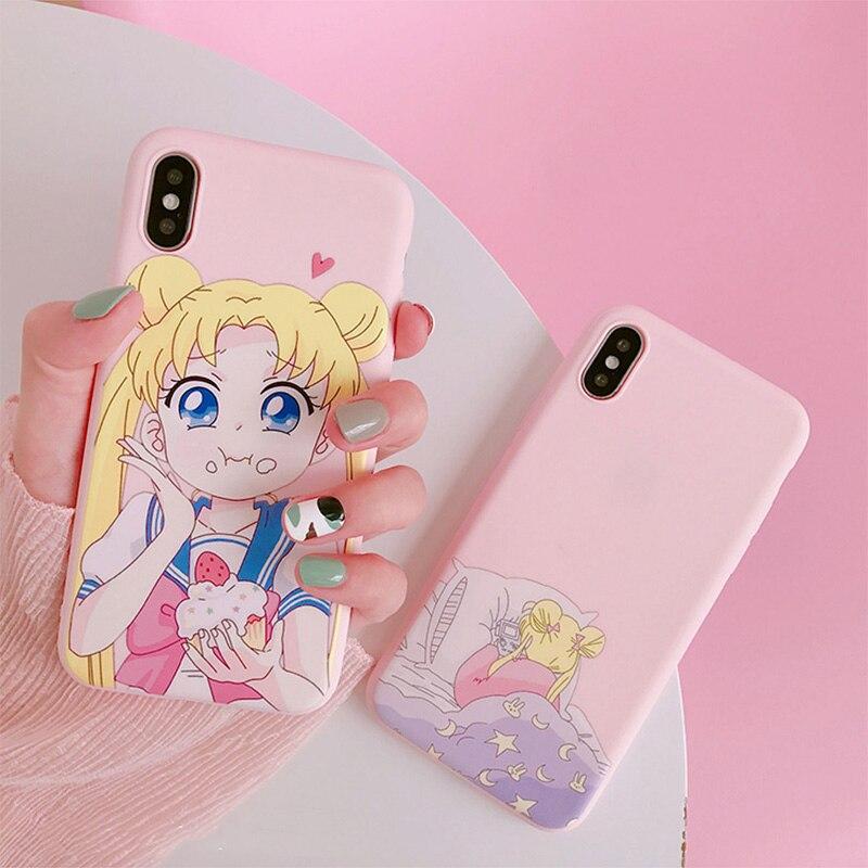 Sailor Moon Telefoon Case Voor Samsung A80 A70 S8 A50 S9 Note 9 8 S10 A30 S9 Plus S10e Note 10 9 8 Zachte Leuke Cartoon Back Cover