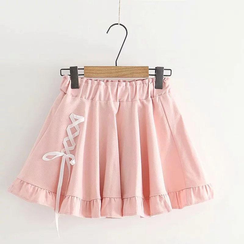 Summer Women Sweet Skirts Japanese Style Vintage High Waist Bow Bandage Mini Skirt Harajuku Cute School Student Pleated Skirts