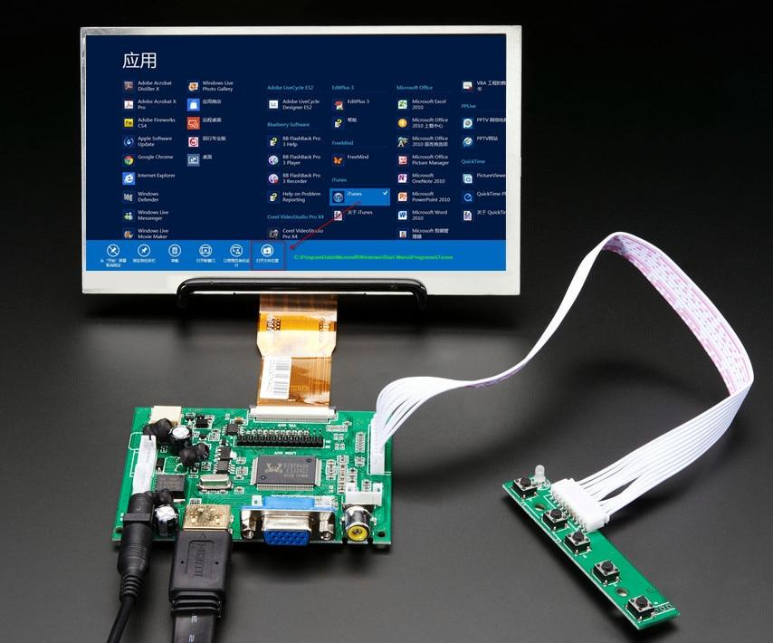 7inch HD LCD Display Screen High Resolution Monitor Driver Board Control  HDMI VGA For Lattepanda Raspberry Pi Banana Pi