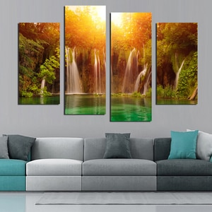 4 Panel Wall Art Sunshine waterfall printe Picture Painting Canvas Print For Home Modern Decoration Unframed F1811
