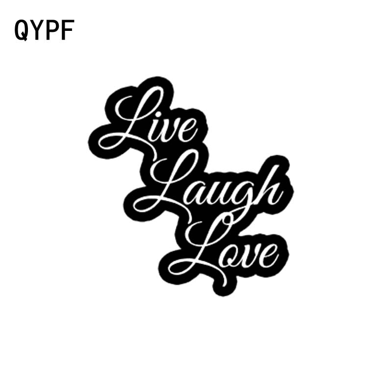 QYPF 14CM * 15CM LIVE LAUGH LOVE vinilo coche pegatina Accesorios negro decoración plateada C15-1962 gráfica
