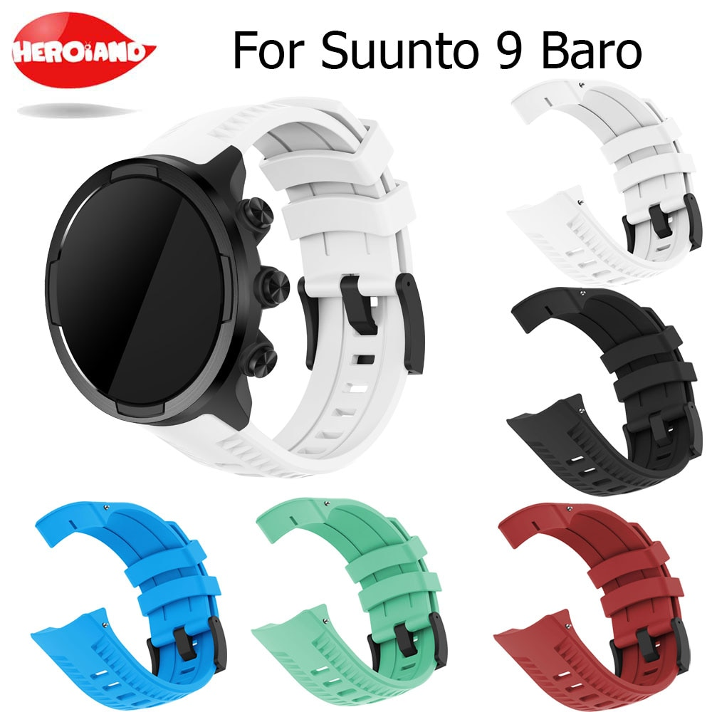 Brand new and high quality silicone watch wriststrap for Suunto 9 Baro replace watch band wristband