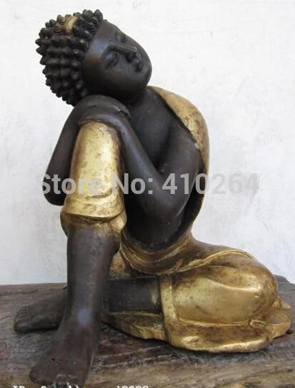 [Buen Descuento] Tíbet Budismo Bronce Gild Tallado clásico pensativo Resto Meditando Estatua de Buda