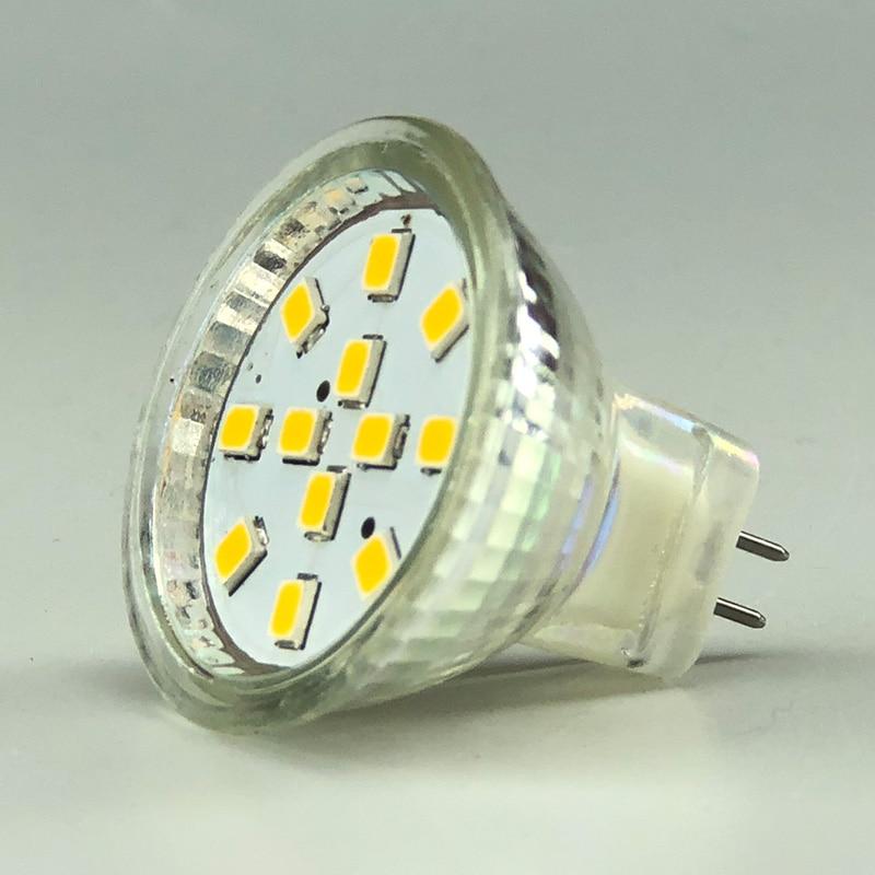 MR11 GU4 bombilla LED residencial regulable con cubierta de vidrio IP20 12LED 2835SMD AC/DC10-30V 12V/24V punto de alta potencia 5 unids/lote