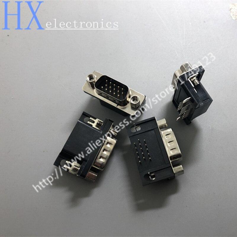 Shpping مجانا 50 قطعة DB15 الذكور HDR15P ثلاثة صف D-SUB VGA موصل بنك التعمير والإسكان 15P المقبس